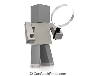 Puppet with magnifying glass image with hi-res rendered artwork that could be used for any graphic design.