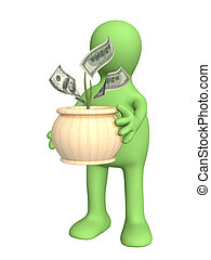 Puppet with monetary tree. Isolated over white