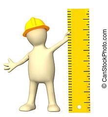 Puppet with ruler - 3d builder with ruler. Isolated over...