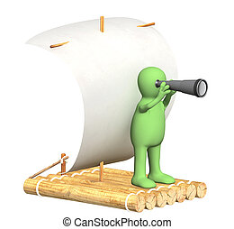 Puppet with spyglass on wooden raft