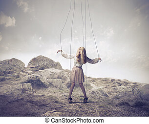 puppet woman in natural lanscape