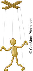 Puppet - Wooden puppet on white background, vector ...