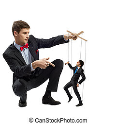 puppeteer and puppet business - puppeteer holds the puppet ...