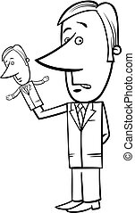 puppeteer businessman cartoon - Black and White Concept...