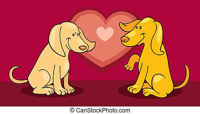 Puppies in love - Cartoon illustration of puppies in love