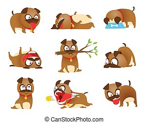 Puppy activity set. Cartoon dog set. Dogs tricks icons and action training digging dirt eating pet food jumping wiggle sleeping running and barking brown happy cute animal poses.