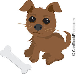 Puppy and Bone - Friendly cartoon puppy with bone
