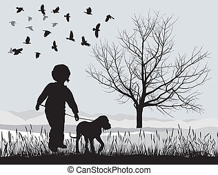 Puppy and boy in the winter - vector illustration puppy and...