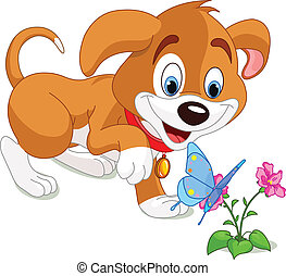 Puppy and Butterfly - The nice puppy looking to the...