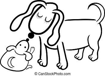 puppy and dog mom for coloring