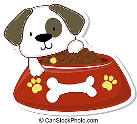 puppy and too much food - cartoon illustration of adorable...