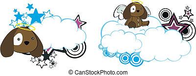 puppy angel cartoon cloud copyspace
