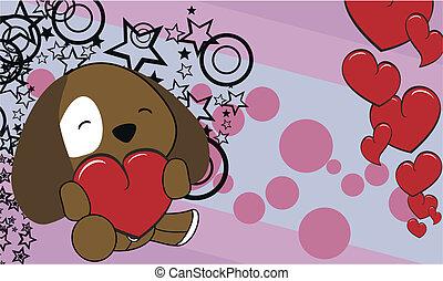 puppy cartoon valentine background