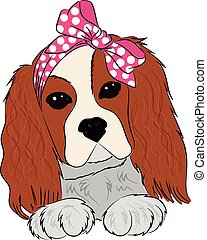 Puppy cavalier king charles spaniel hand drawing vector...