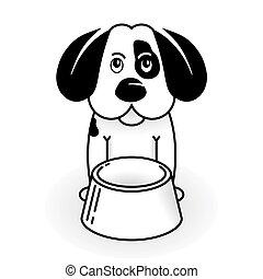 puppy-dog, do, být, lačný