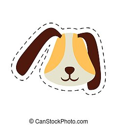 puppy face ear long brown pet line dotted vector...