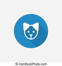 puppy Flat Blue Simple Icon with long shadow