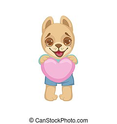 Puppy Holding A Pink Heart