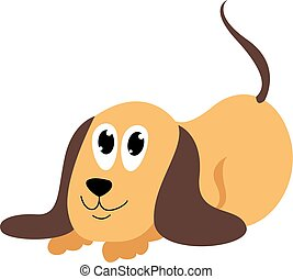Puppy, illustration, vector on white background.
