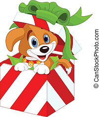 Puppy in a Christmas gift box - Cute puppy in a Christmas...