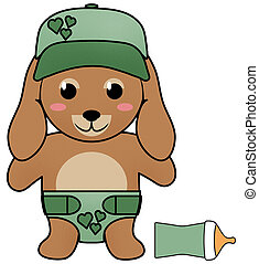 Puppy in Diaper and Baseball Cap with Baby Bottle Isolated on White with Clipping Path for Sublimation Design Projects