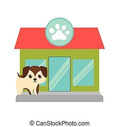 puppy little brown pet shop facade paw print