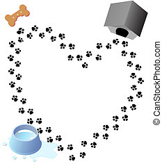 Puppy Love Paw Prints Trail - Puppy love heart shaped trail...