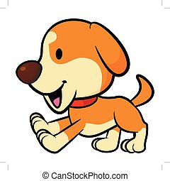 Puppy Mascot running. Vector Illustration Isolated On White Background.
