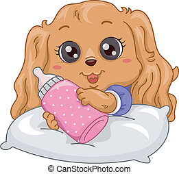 Illustration of a Cute Fluffy Puppy Holding a Milk Bottle