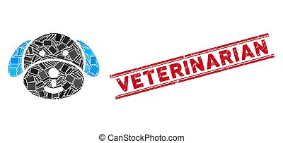 Puppy Mosaic and Scratched Veterinarian Stamp Seal with Lines