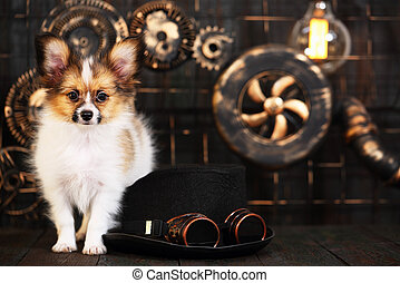 puppy on a dark background in the style of steampunk