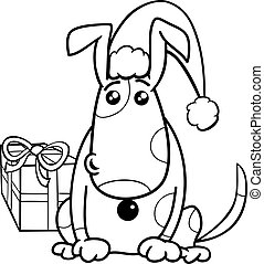 puppy on Christmas coloring book - Black and White Cartoon ...