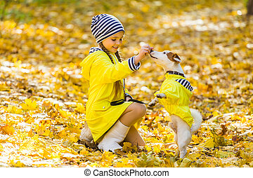 puppy., outdoors., terrier, chouchou, chien, enfant, cric, girl, russell, gosse, autumn.