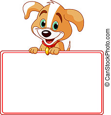 Puppy Place Card - Adorable Puppy Looking Over A Blank...