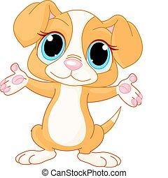 Puppy raising his hands