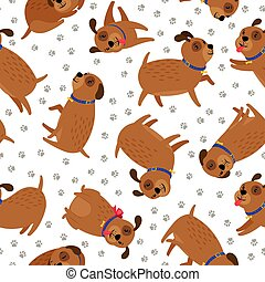 Puppy seamless pattern with paws footprints