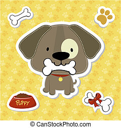 puppy stickers vector collection