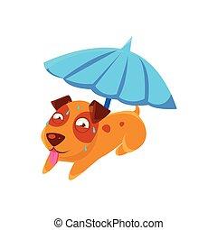 Puppy Sweating Under Umbrella On The Beach