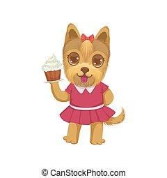 puppy, vasthouden, een, cupcake