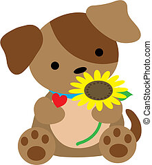 Puppy with Heart - A cute little puppy is holding a...