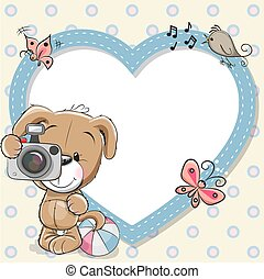 Puppy with heart frame