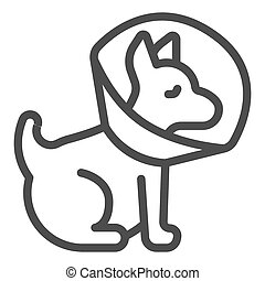 Puppy with protective collar line icon, animal hospital concept, Pet Elizabethan collar sign on white background, Dog protection cone icon in outline style for mobile, web. Vector graphics