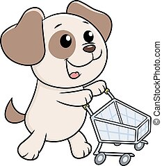Puppy with shopping cart - Illustration of the cute little...