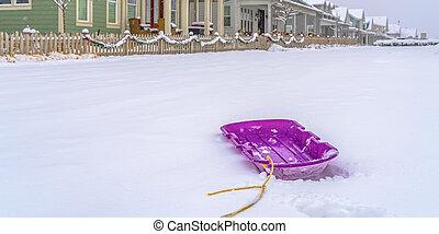 puprle, hogares, plano de fondo, trineo nieve