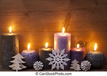 puprle, velas, decoración de navidad, negro, copo de nieve