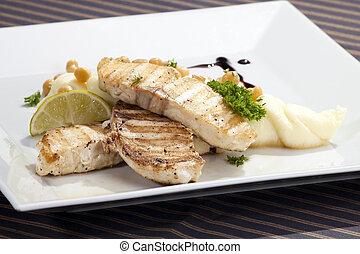 purée, pomme terre, butterfish, w, grillé