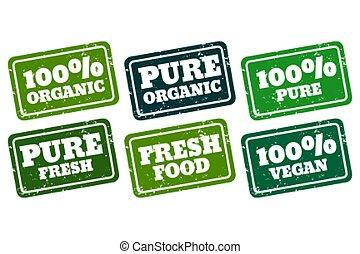 pur, collection, timbres, organique, caoutchouc, vegan