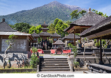 Pura Besakih Balinese temple with Mount Agung in the ...