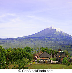 Pura Lempuyang temple with Mount Agung in Bali, Indonesia -...