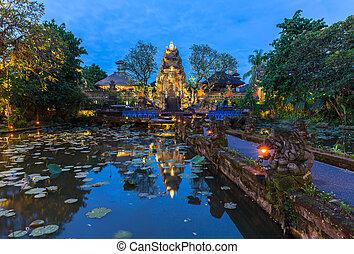 Pura Saraswati Temple at dusk, Ubud, Bali - Pura Saraswati...